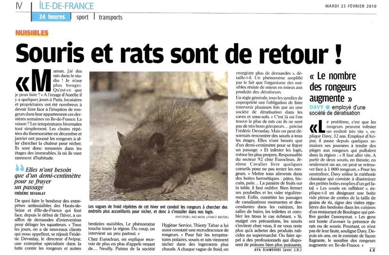 Stoprat - Édition papier du Parisien du Mardi 23 Février 2010