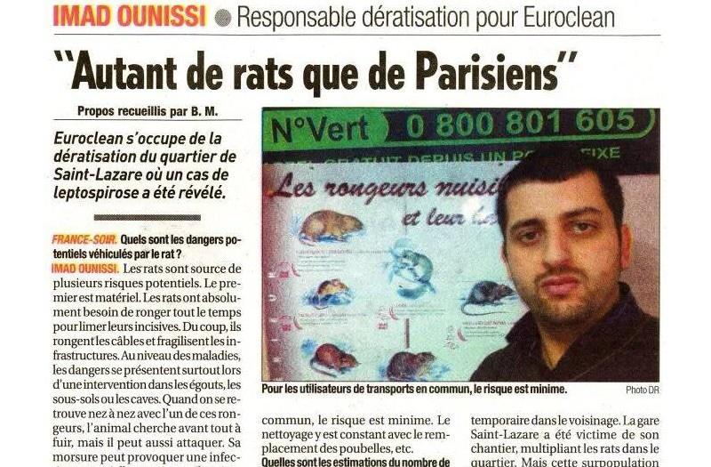 Stoprat - Édition du Journal France Soir du Vendredi 5 Décembre 2008 en page 8.