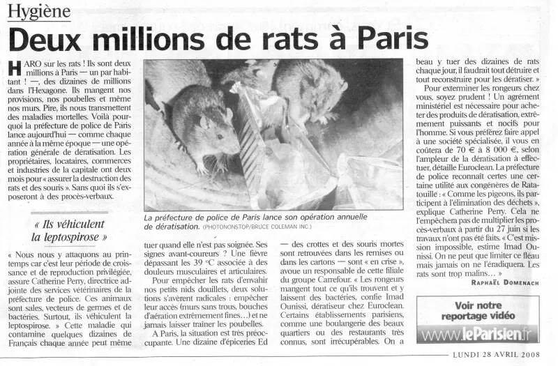 Stoprat - Édition papier du Parisien du Lundi 28 Avril 2008